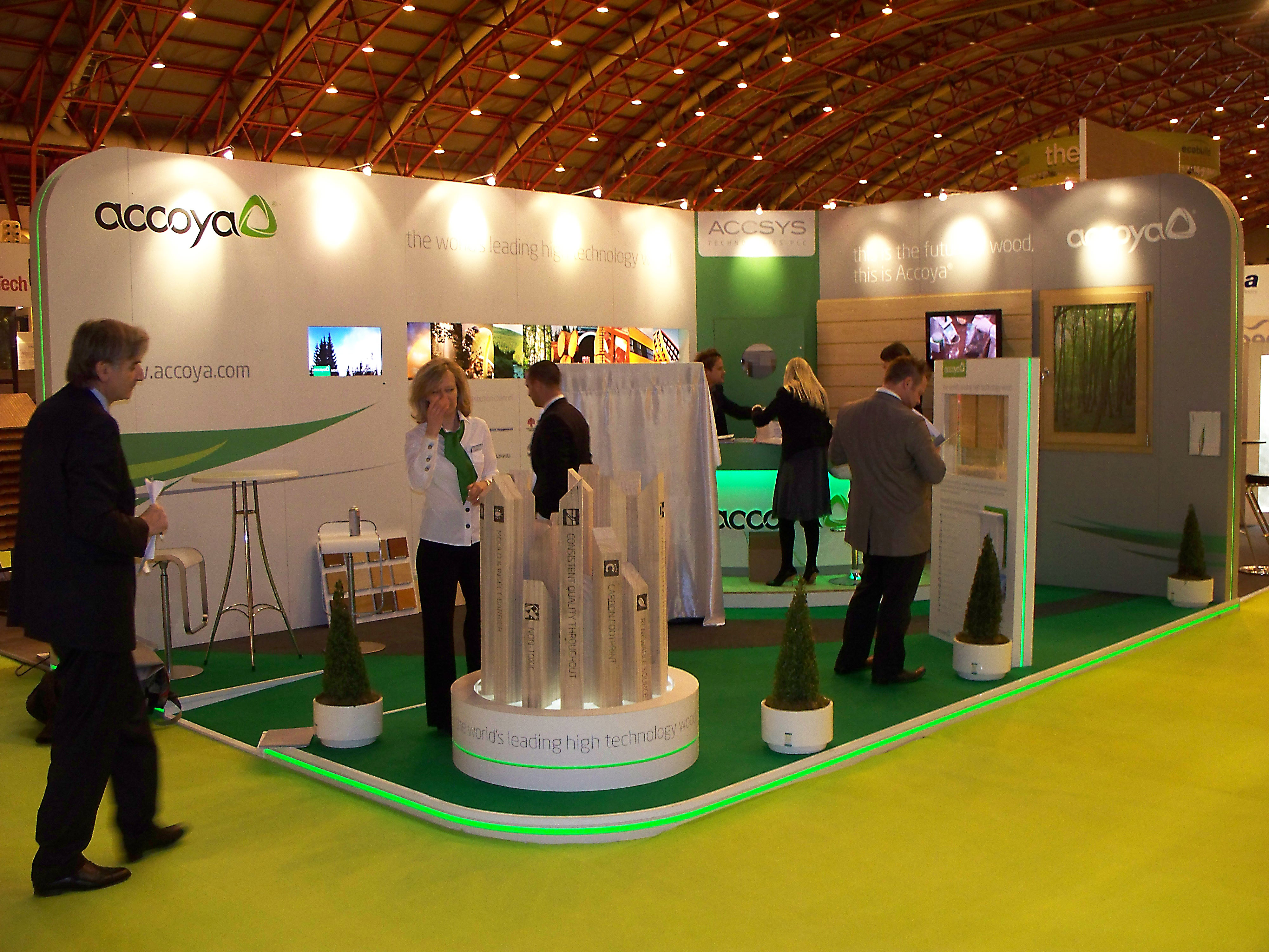 Modern Exhibition Stand Lighting : Light tape used on accoya stand at eco build