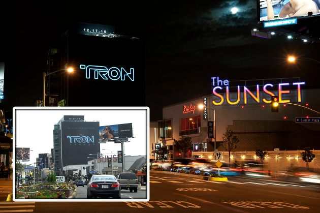 Light Tape Tron Billboard Sunset Bld California
